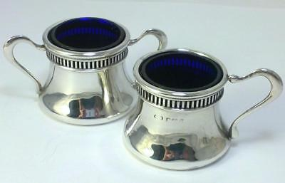 Antique hallmarked Sterling Silver Mustard Pot & Salt Cellar (& Liners) -  1912
