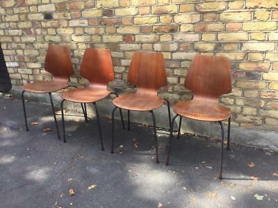 Four Danish Bent Plywood Chairs Vintage Retro Jaconsen Style