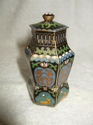 Attractive Miniature Cloisonne Lidded Vase Of Unusual Shape