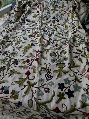 """Exquisite Vintage Crewel Panel ...67"""" X 53"""" Flowers And Foliage"""