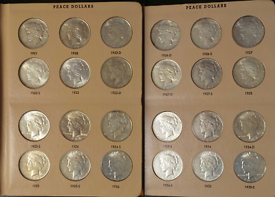Complete Set of Peace Silver Dollars 1921-1935 in Dansco Album 24 Coins