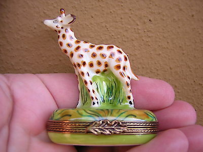 Scarce French Limoges France Hand Painted Exclusive Giraffe Trinket Box