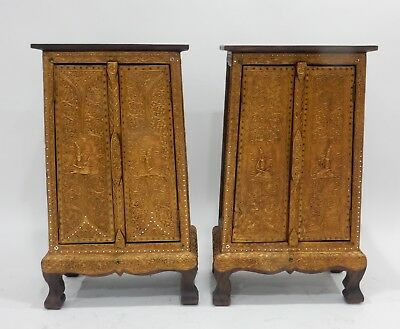 Gorgeous Pair of Thai Teak gilt wood with Stones and mirror Cabinets 32 inches