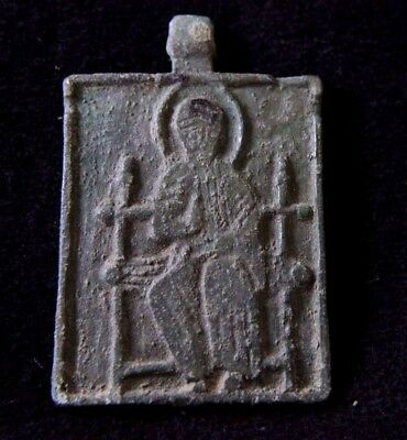 Medieval Crusaders Bronze Icon Pendant with Saint 1200-1300 AD