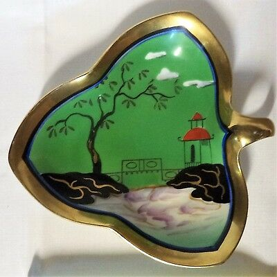 Vintage NORITAKE  'M'  Art Deco Japan Hand Painted MORIMURA Pin Tray Gold Trim