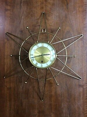 Vintage Welby Mid Century Modern Atomic Star 8 Day Wall Clock Germany AS IS