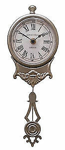 NEW Shabby Chic Brushed Silver Pendulum Wall Clock vintage antique french style