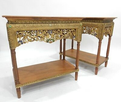 Gorgeous Pair of Thai Teakwood Gilt Finish, with Stones and mirrors Tables 37.5