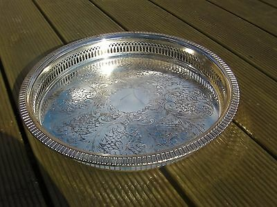 Cavalier Plate Antique Silver Plated Round Ornate Galleried Drinks Tray Platter
