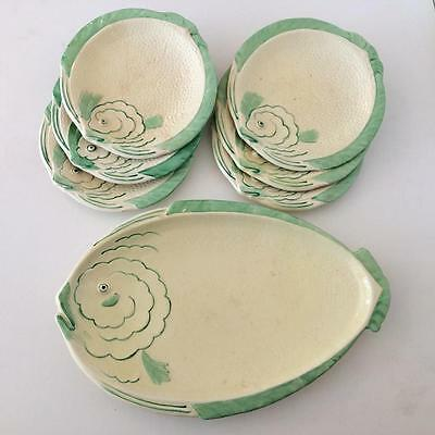 Vintage Art Deco Set of 6 Round Pottery Fish Plates and Large Serving Fish Plate