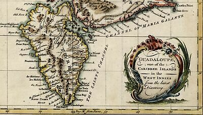 French Guadeloupe Caribee Islands Caribbean 1759 Bowen beautiful Discovery map