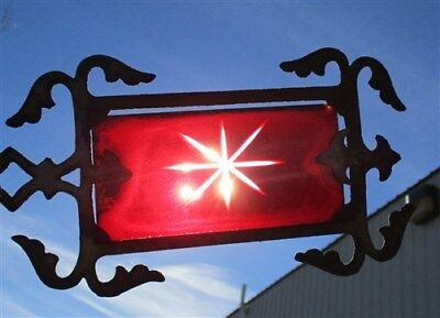 Weathervane Red Etched Glass Tail Lightning Rod No Ball Arrow Pointer Vintage b