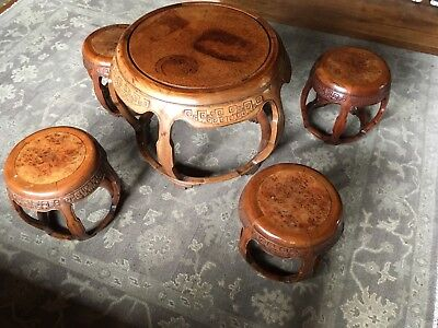 RARE CHINESE FINE PAIR TABLE FOUR  DRUM STOOL CHINA 18-19th century HONGMU chair