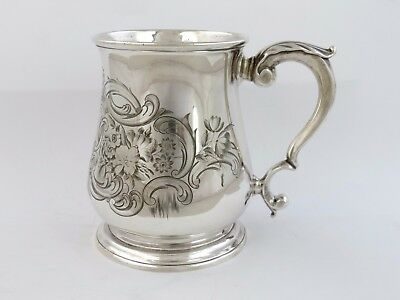 Fine Georgian SILVER PINT MUG, London 1735 Sterling Beer tankard 500ml cup 370g