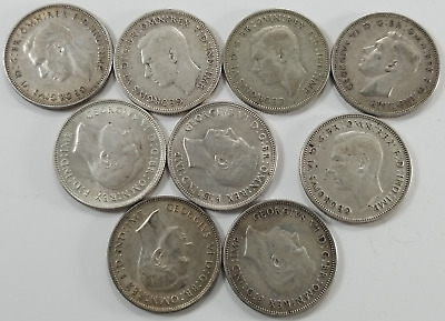 1938 - 1947 Australia Silver Florin, Lot of 9 Coins, 3.2 Troy Oz Sterling Silver