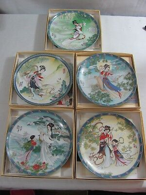 Imperial Jingdezhen Porcelain Plates Group of 5 Legends Of West Lake Red Mansion
