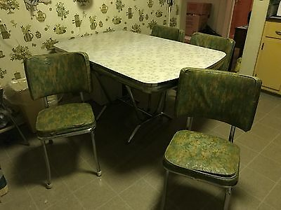Vintage Formica Table Silver Star Pattern Chrome Trim Four Padded Vinyl Chairs