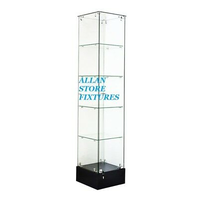 #sagw2B 6'tall  Frameless Trophy Glass Display Tower Case Black