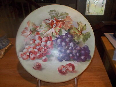 """Antique Porcelain Round Tablet/Plate for Balance Scale - 8"""" w/Grapes"""