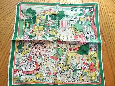 Vintage cute  Hankie Child kid and animals at carnival