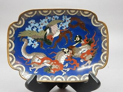 Antique Japanese Cloisonne Tray with Dragons Pearl and Phoenix  8 inches