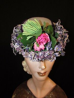 1940's Doll Hat With Violets, Lord & Taylor Label