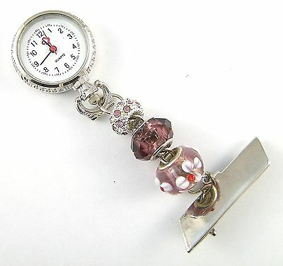 Fobwatch with silver banding, bead design for healthworkers beauticians vets