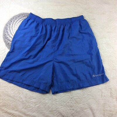 Vintage Champion Womens Athletic Shorts Spell Out Nylon Blue Size XXL 2x