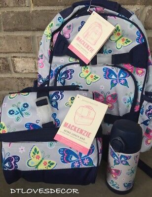 Pottery Barn Kids Gray Butterfly Large Backpack, Lunch Bag & Water Bottle~NWT