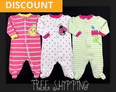 Infant Baby Girl Clothes Size 0-3 Months Zip Up Footed Sleepers Mixed Lot Set