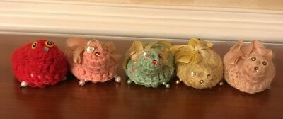 5 Vintage Sweet Heart Soaps 3.5 oz Bars, wrapped in crocheted turtles.