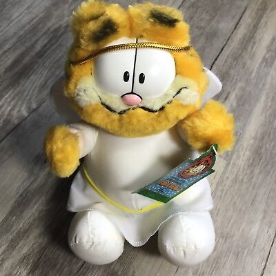 "McDonald's Garfield Chirstmas Angel 7"" Plush Stuffed Animal Toy Cat 1990 w/ tags"