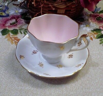 Queen Anne Tea Cup And Saucer  Pink & Gold Floral Pattern Teacup