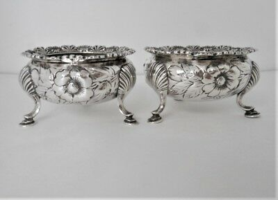 2 Vintage Sterling Footed Salt Cellars By Gorham, Total Weight 120 Grams