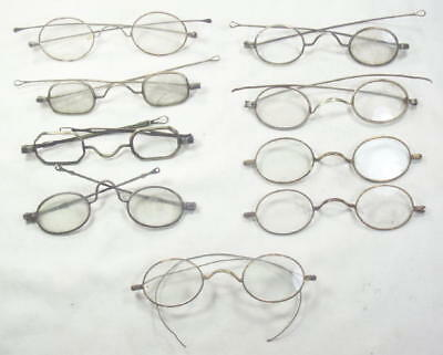 9 Lot Civil War Era / 1800s Early 1900s Eyeglasses Spectacles