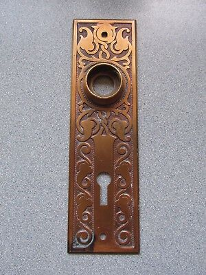 Beautiful Ornate Copper Door Knob Escutcheon Plate Hardware Antique vtg