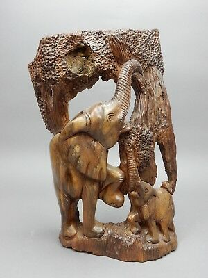 Large Hand Carved  Elephant family carving Teak WOOD wall hanging 19 inches