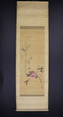 """JAPANESE HANGING SCROLL ART Painting """"Flower"""" Asian antique  #E7571"""