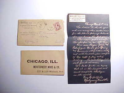 1887 Montgomery Ward Dry Goods Chicago Postal Cover And Letter 2 Cents Stamp Vg+