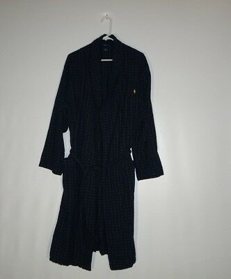 Polo Ralph Lauren Men's Size S/M Cotton Flannel Robe Plaid Blue