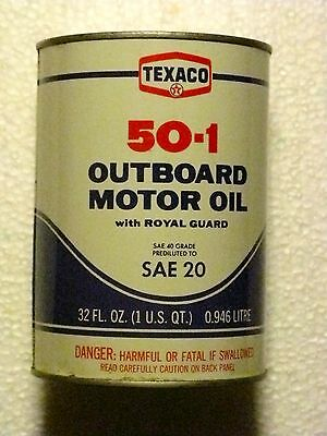 Vintage 1 Qt Texaco Outboard Motor Oil Can 50-1 W/ Royal Guard Full Unopened Usa