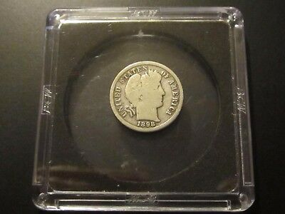 1898-S Barber Dime, Very Good. Free Ship.