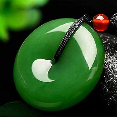 Delicate Chinese natural jade hand-carved Harmony pendant Necklace Lucky Amulet