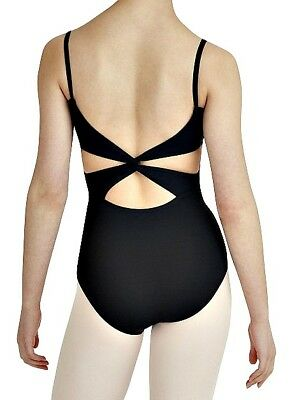 CAPEZIO ABT Camisole Black Leotard Twist Back One Piece Ballet Dance Womens M