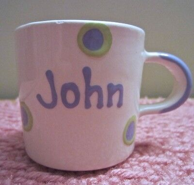 """2½"""" BABY BOY NAME CUP/MUG """"JOHN"""" Hand Painted BLUE & GREEN DOTS by WHAT A DISH!"""