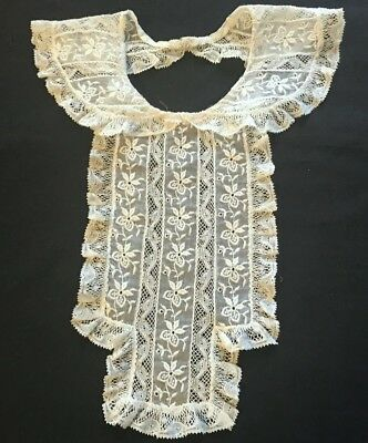 Marvelous Old Vintage Collar w/Jabot  Bobbin Lace & Embroidery on Cotton Organdy