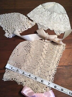 3 Victorian Ornate Crocheted Doll Baby Bonnets 2 Lg Unused W/ribbon Ties 1 Small