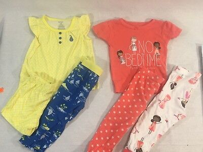 Carter's Lot of 6 girls pjs pajamas winter fall size 12 month