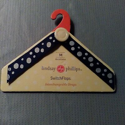 Lindsay Phillips Interchangeable Straps Blue white polka dots button Montana, M