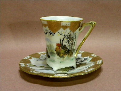 Antique Demitasse Cup w/ Saucer - Nippon China - Hand Painted